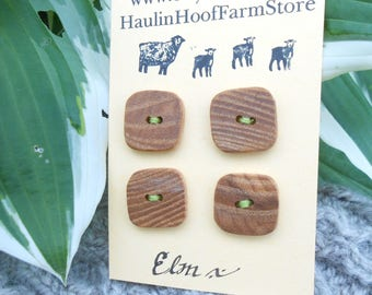 Wooden buttons/American elm buttons/square buttons/set of four buttons/natural buttons/earthy buttons/rustic buttons/sustainable buttons