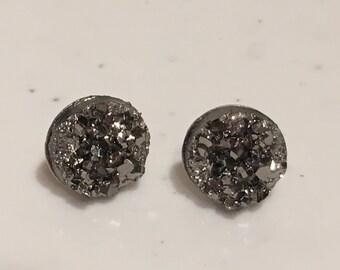 Gunmetal Silver Faux Druzy Stud Earrings