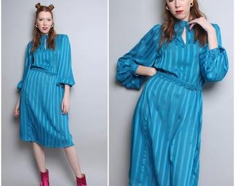 1970's Blue Secretary Dress / 80's Midi Dress / Medium