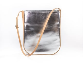 Silver + Natural Leather Bag
