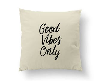 Good Vibes Only Pillow, Typography Pillow, Home Decor, Gold Cushion Cover, Throw Pillow, Bedroom Decor, Bed Pillow, Decorative Gold Pillow,