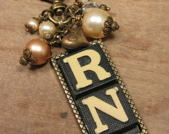 Repurposed Game Pieces - Nursing Themed - Anagram Necklace - RN, Nursing with Mixed Pearl Beadwork and Heart Charm