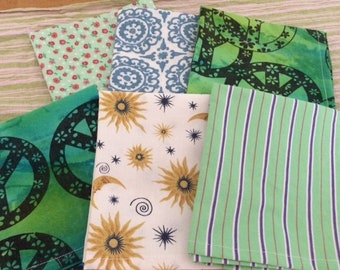 LunchBox Napkins, Set of 6, Boho, Retro FUN, by CHOW with ME