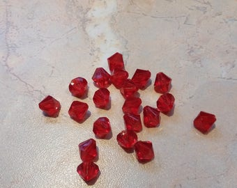 Red shape acrylic beads, bicone, 8mm