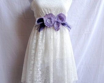 GRACE Lavender and Purple Fabric and Peacock Feather Flower Bridal Wedding Sash, Maternity Sash