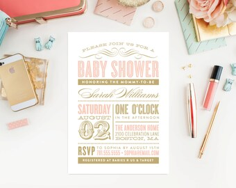 Old Fashioned Baby Shower Invitation