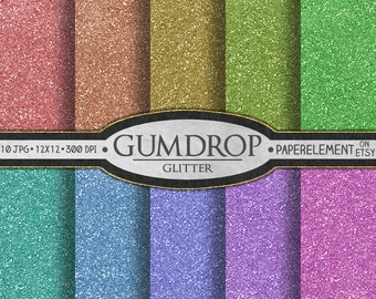 Glitter Digital Paper Pack: Gumdrop Candy Digital Paper - Printable Christmas Scrapbook Backgrounds with Rainbow Digital Paper