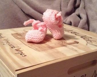 Hand knit baby girl ballerina slippers