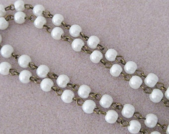 """White Glass Pearl 6mm Beaded Rosary Chain Antique Bronze Brass  One Meter 39.5"""" 963"""