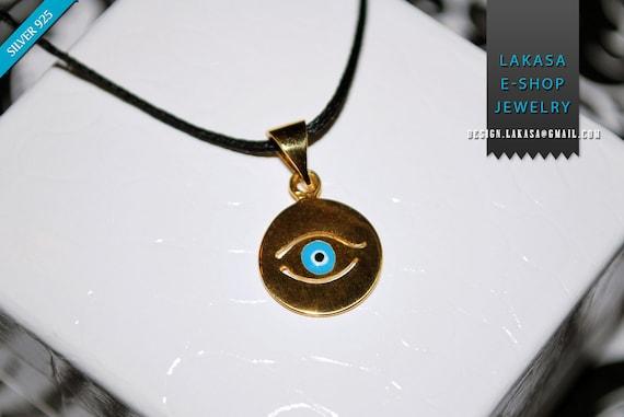 Necklace Enamel Blue Eye Sterling Silver 925 Gold-plated Handmade Jewelry Baby Girl Boy Baptism Newborn Unisex Women Summer Collection