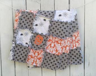 """Halloween Rag Quilt with Jack-O-Lantern Pumpkin, Spiders, Orange Demask and Black and Grey Dot 46""""X46""""  Perfect for Home Decor Ready to Ship"""