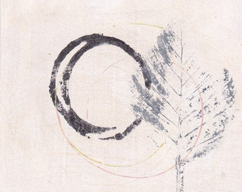 Enso IV - September 2016, abstrakte Malerei auf Papier, 4 x 4, kleines Kunstwerk