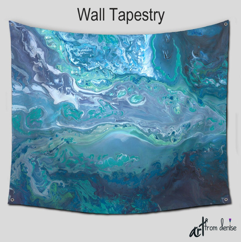 abstract wall tapestry hanging teal blue gray contemporary. Black Bedroom Furniture Sets. Home Design Ideas