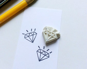 Bling bling diamond stamp. Rubber stamp. Hand carved stamp. Mounted