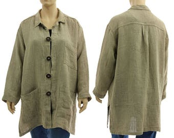 Oversized linen blouse natural beige, womens linen shirt, linen clothes, lagenlook linen shirt blouse plus size women XL-XXL, US size 18-24
