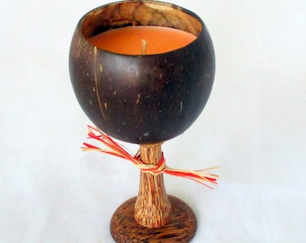 Coconut wine glass candle, hawaiian candle, Caribbean Escape, coconut cup, coconut candle, wine candle, tropical candle, unique wine glass