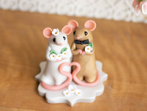 Mouse Wedding Cake Topper by Bonjour Poupette