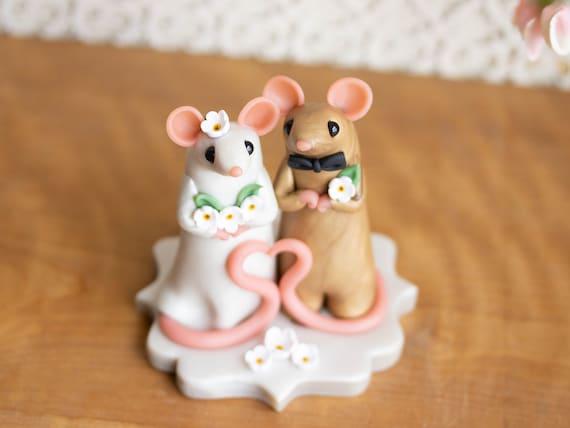 Mouse Wedding Cake Topper by Bonjour Poupette
