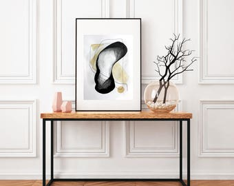 """Abstract painting, 21x29,7cm wall art black white large painting Graphite and Coffee nice original painting - """"Around us"""""""
