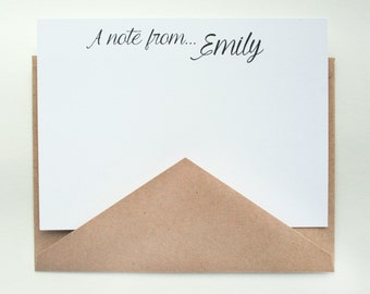 Personalized Stationery -- E M I L Y -- Contemporary Stationery Set of Custom Notes & Envelopes -- CHOOSE YOUR QUANTITY