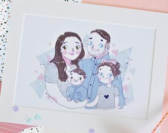 Custom Illustration - Custom Family Portrait - Custom Couples Portrait - Personalised Illustration - Personalised Art Prints- Kawaii Gifts