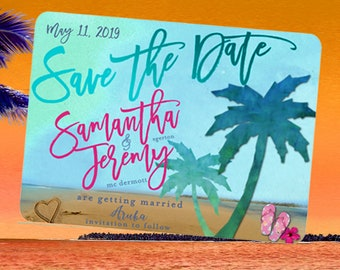 Save the Date Card-Tropical Palm Tree Save the Date Card,Beach Save the Date,DestinationWedding,Tropical Save the Date Card,Tropical Wedding