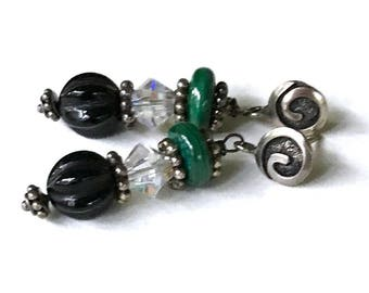 Vintage Malachite Crystal Onyx Sterling Silver Art Deco Earrings, Dangle Drop Post Earrings, for Her Under 75, One of a kind