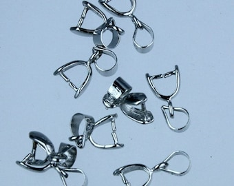 20 pcs of Rhodium plated on Brass Pinch Ice Pick Bails Pendant Clasp - 15mm