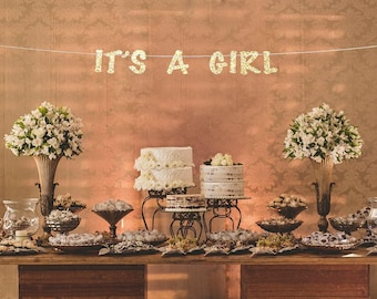 Its a girl banner, baby shower banner, baby girl banner, gender reveal party, baby shower girl, gold and pink baby shower decor