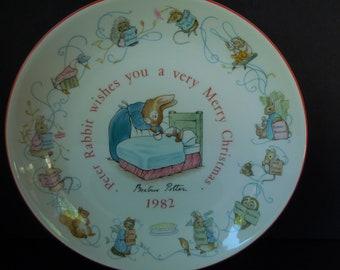 Peter Rabbit Christmas Plate/Beatrix Potter Wedgwood Porcelain 1982