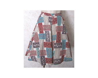 Vintage Barkcloth '50s Skirt / 1950s Atomic Novelty Print Full Skirt XS