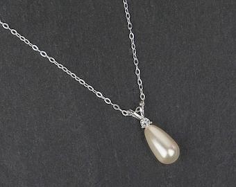 KATHLEEN pendant necklace, Swarovski pearl, sterling silver