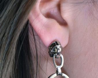 Silver Zipper Earrings - Hexagon Earrings - Minimalist jewelry - Designer Earrings