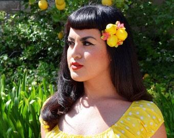 Carmen Miranda Lemon Fruit Hair Clip, Retro Hawaiian Lemon PinUp Tropical Tiki Flower Hairclip Fascinator by Viva Dulce Marina