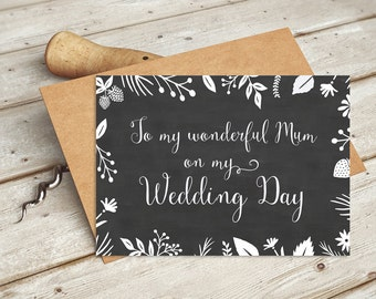 To My Wonderful Mum on My Wedding Card | Wedding Party Cards from the Bride to her Mother - Handwritten Calligraphy Script