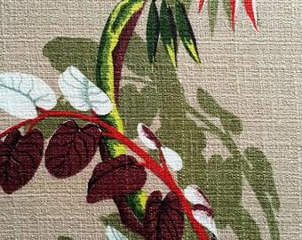 "Spectacular Woodland Foliage Barkcloth Fabric//Hollywood Regency Extraordinaire// Cotton Yardage// Upholstery// Drapery// 45""x 85"""