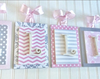 Nursery letters, Pink and Gray Nursery, Personalized Letters, Chevron Letters, Wooden Letters, Nursery Wall Letters, Hanging Wall Letters