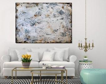 Extra Large Wall Art Modern Abstract Painting, Acrylic Painting, Textured Wall Art Large White Rusty Wall Art, Living Room Art, Christovart