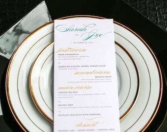 "Dinner Reception Menu, Mehndi Event, Indian Wedding, Bohemian Wedding, Teal and Gold - ""Delicate Filigree"" Flat Menu, No Layers - DEPOSIT"