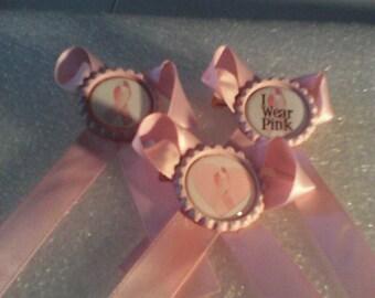 Breast cancer awareness hair bows