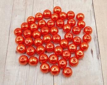 6mm Glass Pearls - Bright Orange - 75 pieces - Dark Tangerine