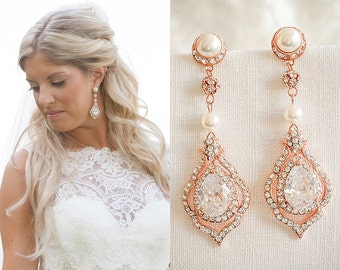 Rose Gold Wedding Earrings, Crystal Bridal Earrings, Vintage Style Pearl Dangle Earrings, Art Deco Teardrop Chandelier Earrings, TORILYN