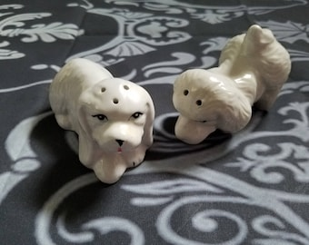 White Dog Salt & Pepper Shakers Glass Vintage