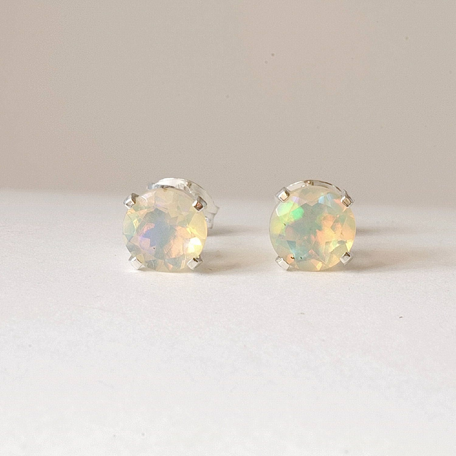 opal vintage stud post studs green emerald earrings hypoallergenic listing genuine il tiny fullxfull fire
