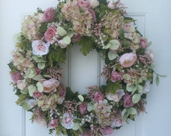 Sale!! Pink Roses, Hydrangea & Ranunculus with Lush Greens Wreath