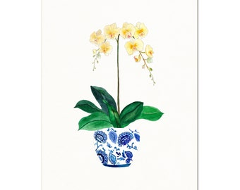 Watercolor Orchids in Ginger Jar Art Print. Yellow Orchids Painting. Ginger Jar Art Print. Gift For Her. Orchid Art Print. Botanical Art.