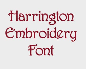 """Harrington Embroidery Font in Multiple formats, 1/2"""", 1"""", 2"""" & 3"""" (Upper case + numbers) - INSTANT DOWNLOAD - Item #1119"""