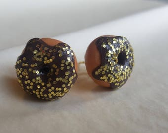 Polymer Clay Donut Stud Earrings with Chocolate Frosting and Gold Glitter