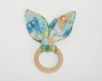 Teething ring wooden baby bunny ears