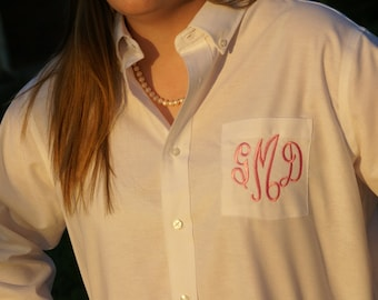9 Monogrammed Button Down Shirts with Bride cuffs - Perfect for Brides and Bridesmaids